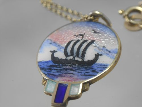 VINTAGE VIKING LONGBOAT ENAMEL SILVER GILT PENDANT ON CHAIN NORWEGIAN - Vintage-Kitsch vintage and antique cutlery, silver, silver plate, Cornish ware, antique pencils, kitchenalia and curios