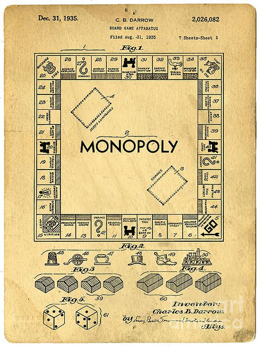 Original patent for the board game Monopoly available as framed art - http://pixels.com/featured/original-patent-for-monopoly-board-game-edward-fielding.html