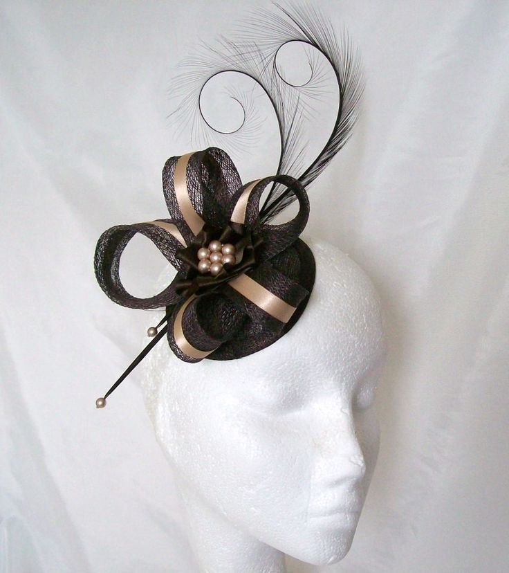 Chocolate Brown & Nude Isadora Satin Stripe Fascinator Mini Hat Order Now from www.indigodaisyweddings.co.uk Specialising in stunning bespoke cocktail fascinators and formal hats in a wide range of colours, perfect for Royal Ascot and The Kentucky Derby. Plus all your wedding floral accessories including shoe clips, vintage flapper bands, feather and flower fascinators, feather fans, fairy wands, wrist corsages, wedding bouquets & buttonholes. Worldwide Delivery.