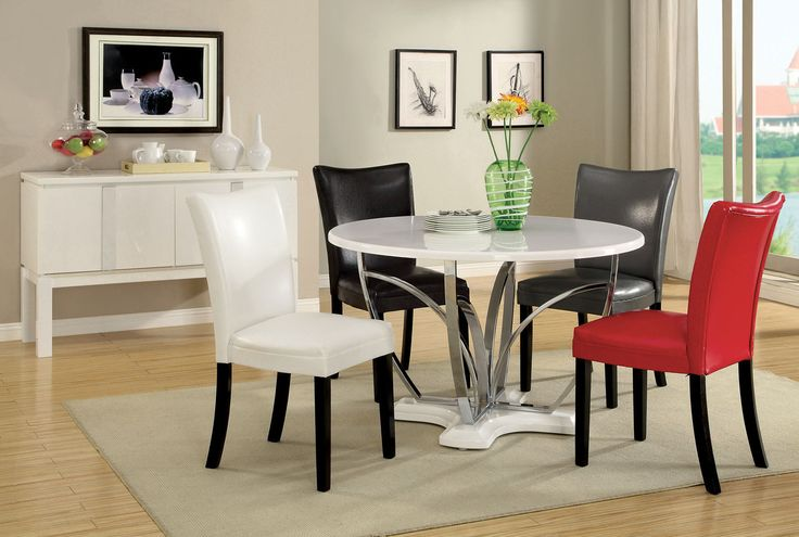 "BELLIZ DINING TABLE CM3177WH-T DESCRIPTION : This unique dining table for four adds modern elegance to any kitchen or dining room. Accented with chrome legs, the table is available in black or white. Pair the dining table with padded Parson style chairs available in red, white, black or grey. Features :  Contemporary Style High Gloss Lacquer Coating Chrome Table Legs Solid Wood, Others  Dimension Round Dining Table : 38""L X 60""W X 30""H"