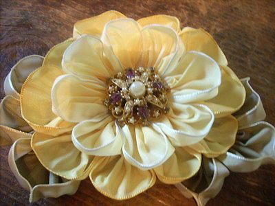 Vintage Style French Ombre Millinery Ribbon Flower Pin~Ribbonwork~Corsage