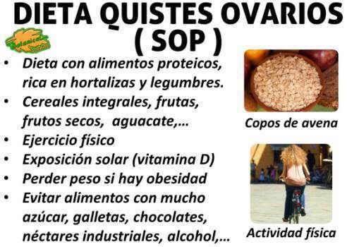dieta alimentos recomendados para los ovarios poliquisticos o con quistes, sop