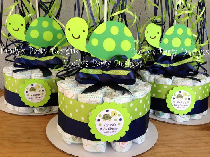 Turtle Baby Shower Diapers Centerpiece with by EmilyPartyDesigns