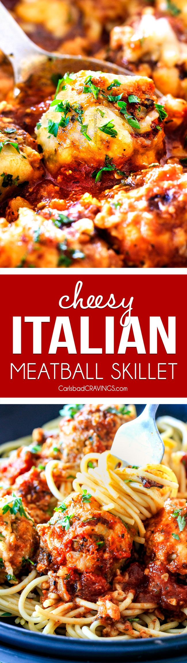 Easy, juicy, flavorful Italian meatballs bathed in rich marinara, smothered in mozzarella and Parmesan and baked to golden cheesy deliciousness! This is one of my favorite recipes EVER and they make the BEST spaghetti and meatballs!