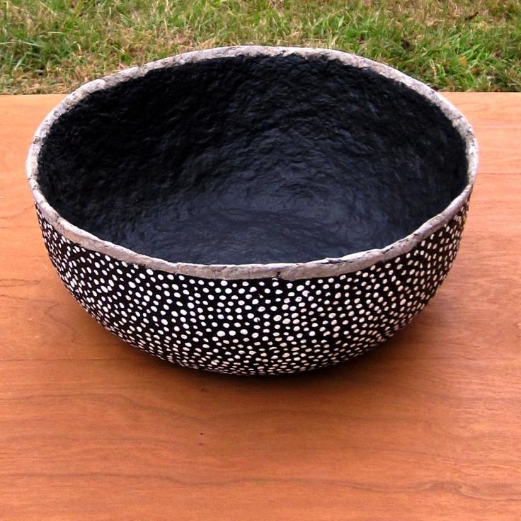 Paper Mache Bowl: Handmade Recycled Black and White Polka Dot Papier Mache Decor, Speckle Bowl. $62.00, via Etsy.