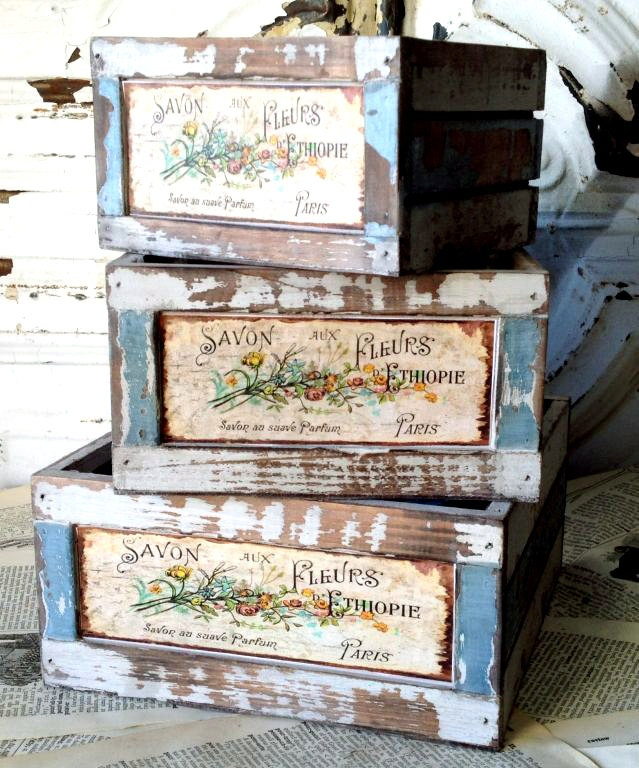 3 Vintage Wood French Flower Boxes -- perfect for growing herbs!! #garden #Parisian #vintage