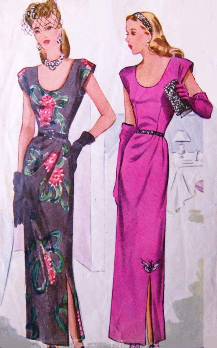 Motifs de couture vintage authentique : il sagit dune fabuleuse robe originale faisant de patron, pas une copie. Parce que les patrons de couture sont vintage et pré appartenant, nous vérifions chaque patron de couture vintage pour être complet, pour les pièces du patron et le feuillet dinstructions. Dans de nombreux cas les patrons vintage nont jamais été utilisés et sont pas coupées et usine plié.   Motif : motifs McCall Numéro de modèle #5921 Droit d'auteur: 1945 Le motif est : complet…