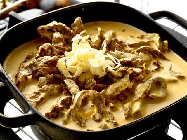 Strimlad lövbiff i senapssås med parmesan (kock recept.nu)
