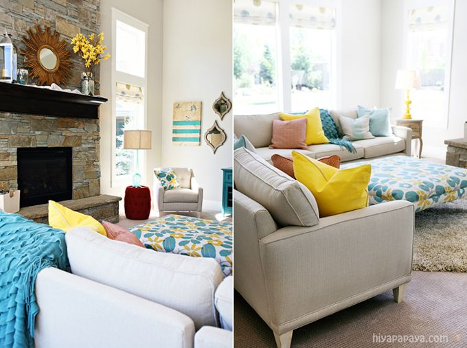 large colorful ottoman in neutral room: Interior Design, Chairs Furniture, Living Rooms, Big House, Sunroom Ideas, Family Room, Fireplace Floor Design, Bird Artwork, Color Combination
