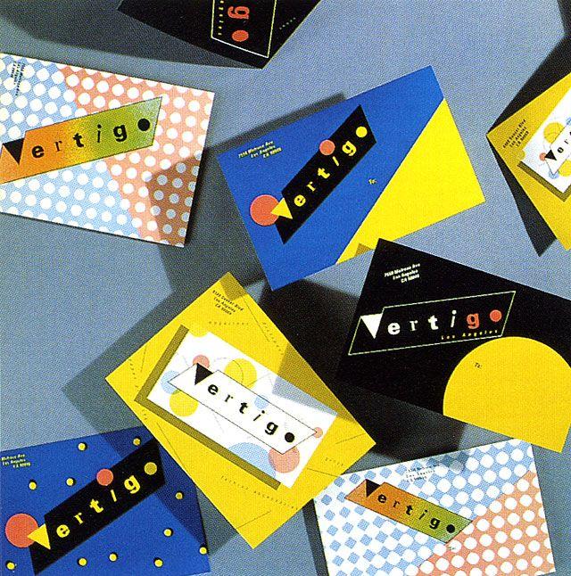 APRIL GREIMAN - Identity, business cards, hang tags, and postcards for Vertigo, 1979