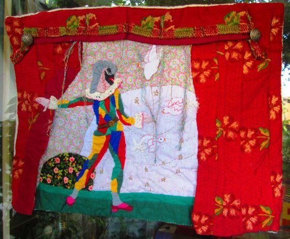 Arte tessile - Manufatto patchwork ricamo - Teatrino Commedia dell'Arte - Arlecchino e Colombina