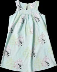 So Sooki Fly with Me Baby Doll Dress in shades of peppermint green! All over print of doves and leaves makes this a summery dress that your little girl will look great in!  Button on back.  100% cotton and machine washable.