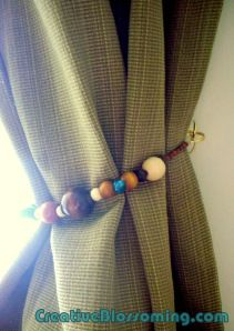 Beaded curtain tiebacks with repurposed jump rings and cup hooks turquoise olive cream gold wood