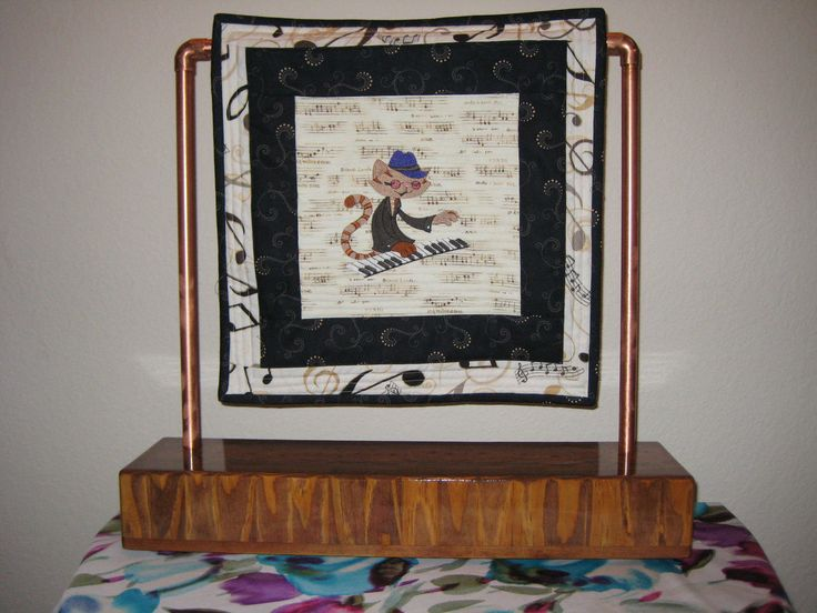 Quilt Block AND Hand Crafted Stand; Jazz Cat at the Piano Embroidered Quilt Block AND Hand Crafted Stand Table Display - IPFG-000037