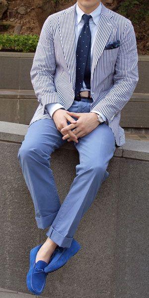 Summer's Killer look - seersucker jacket + faded denim + navy tie + the loafers