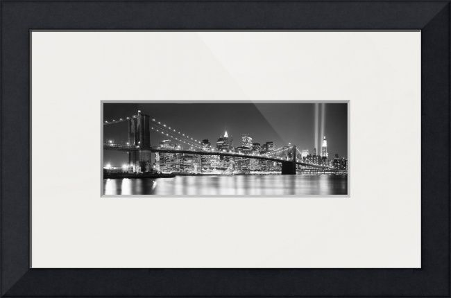 """""""Brooklyn Bridge New York BW"""" by Ik Stores,  // { 'dimensions': { 'width': 48, 'height': 16 }, 'material': 26, 'size': 3 } // Imagekind.com -- Buy stunning fine art prints, framed prints and canvas prints directly from independent working artists and photographers."""