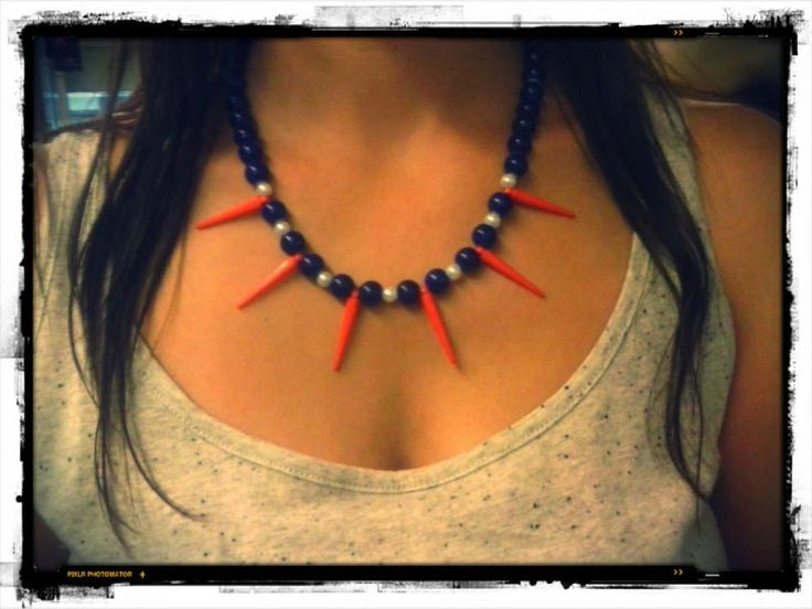 Beaded statement necklace with spikes
