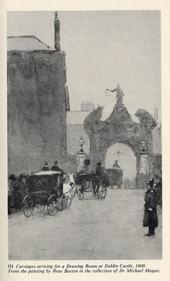 Carriages pass into Dublin Castle. It's often noted that the statue of Justice stands with her back to the people outside the Castle walls.