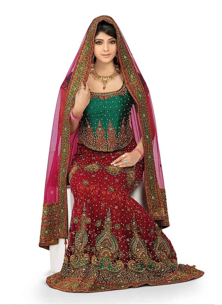 Bridal Chaniya Choli - Teal, Red, Gold $650