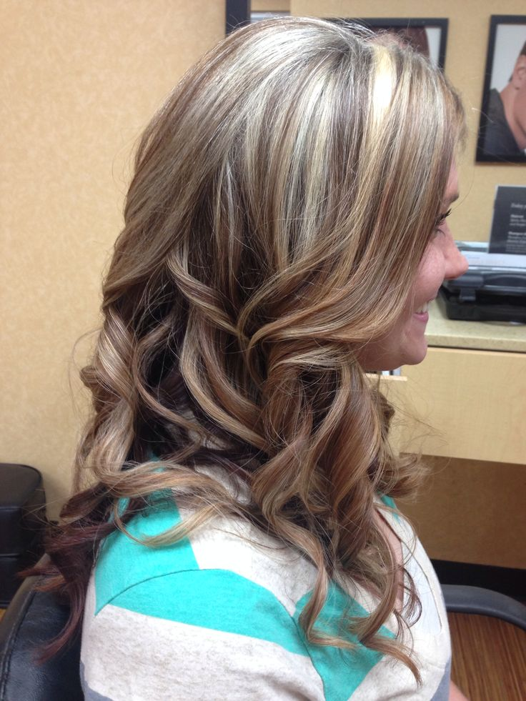 Highlights And Lowlights Curls Blonde Mocha Purple