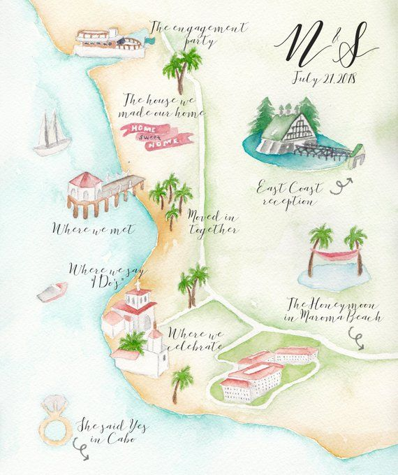 Custom Wedding Map Watercolor Wedding Map Los Angeles Wedding
