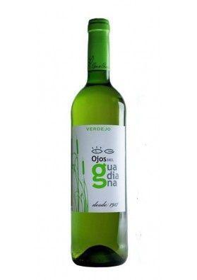 Vino Blanco Ojos del Guadiana Verdejo.  Vino blanco D.O Castilla la Mancha, elaborado por Bodega el Progreso, perteneciente a la variedad de Verdejo, recolectado en los viñedos de esta variedad, vino  de gran persistencia.: