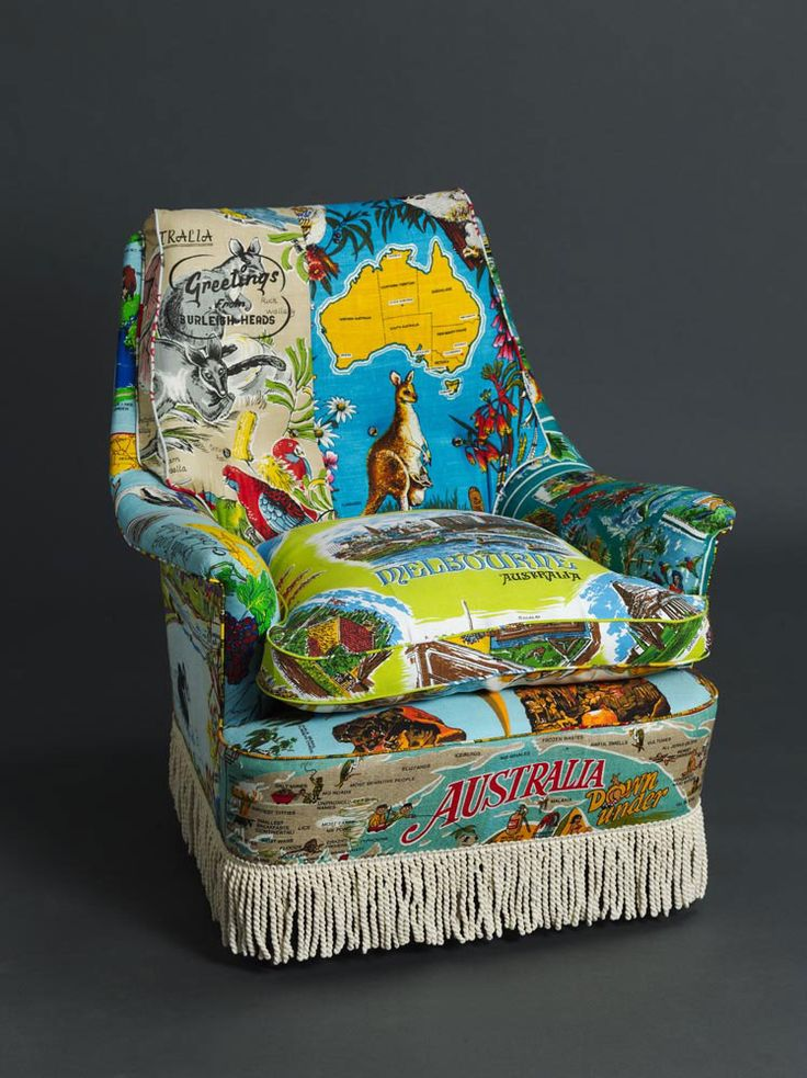 Suzie Stanford's chair covered in vintage tea towels