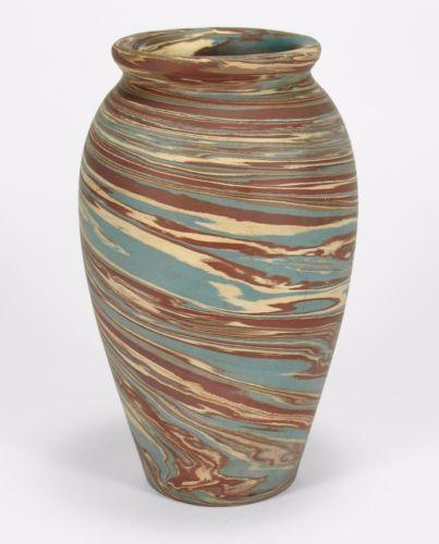 Niloak-Pottery-Hyten-Mission-ware-blue-brn-swirl-arts-amp-crafts-southern-8-034-vase