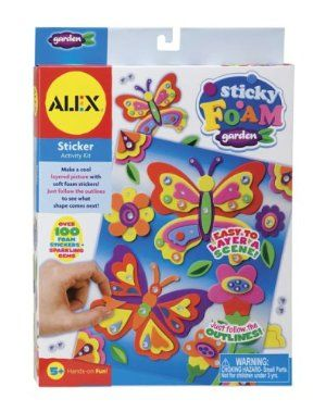 Alex Toys Sticky Foam Garden by ALEX TOYS. $6.66. 8.75 x 1.25 x 11.75. Layer adhesive foam pieces to create a colorful 3D scene. Each kit includes lots of stickers, printed board with fold-out stand, and easy instructions. Garden and Princess themes include stick-on gems.. Save 17% Off!
