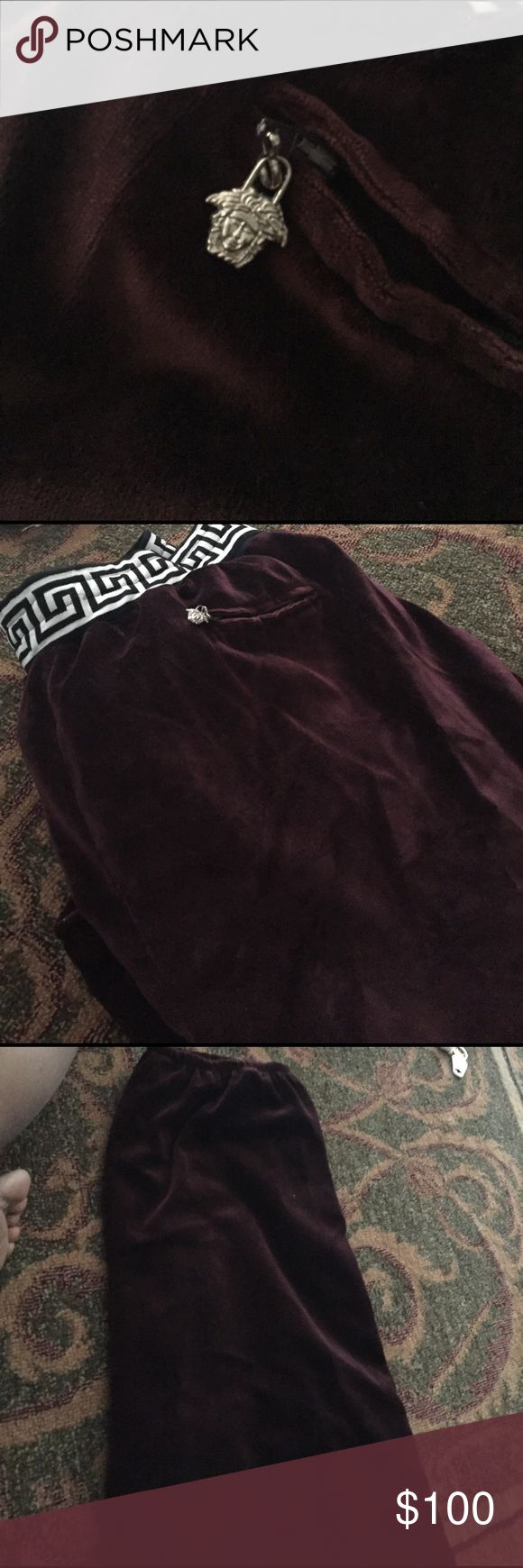 Versace velour pants size 3x or 4x Worn a by  Known rapper before he lost weight look as though they might have been custom made no label but zipper with Versace authenticity is not known sold as is and can not authentic items no rips very good condition Versace Pants Sweatpants & Joggers