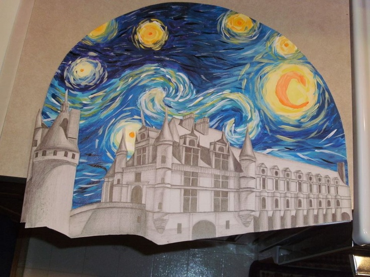My Art 1 teacher made us do a two point perspective project. The only requirements was that we were to do a castle. I chose to do castle Chenonceau that was built over a river in France. It was due December 22, but I didn't get it finished and had to do it over Christmas break. I turned it in today!!