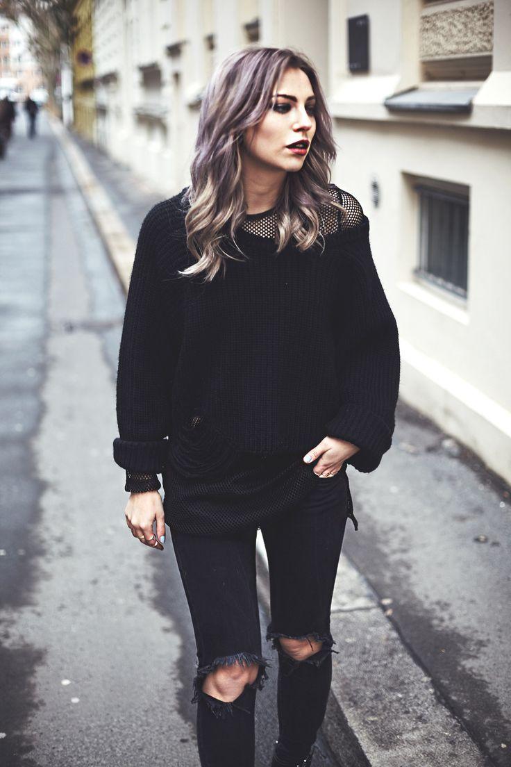 Black layering grunge black edgy outfit by Masha