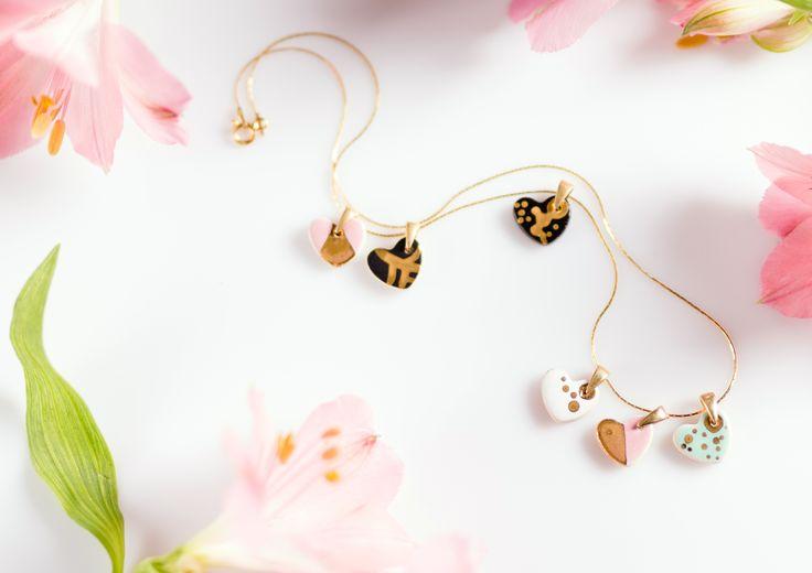 Ceramic jewelry painted with 24k gold made by Zu Design. etsy.com/shop/ZuDesignJewelry  #etsy #gold #jewelry #zudesign #heart #necklace