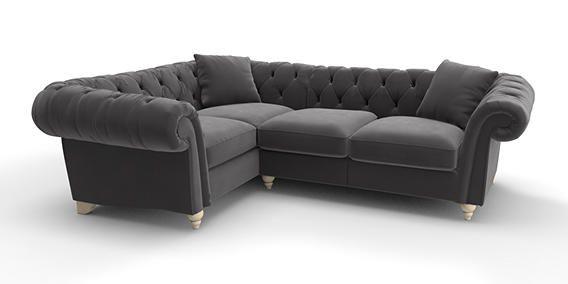Buy Gosford Buttoned Corner Sofa Left Hand 4 Seats Matt Velvet Charcoal Low Turned Light From The Next Uk Online Shop Sofa Corner Sofa Interior Furniture