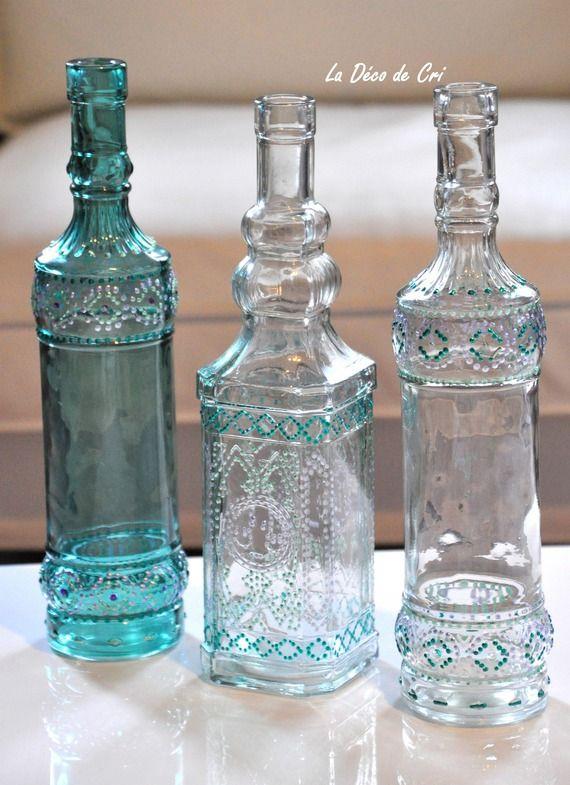 17 meilleures id es propos de bouteilles d coratives sur pinterest bouteilles d 39 alcool vides. Black Bedroom Furniture Sets. Home Design Ideas