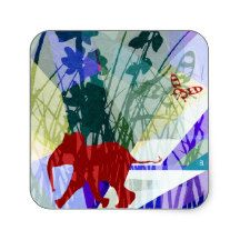 Naughty elephant square sticker pegatina cuadrada   Zazzle