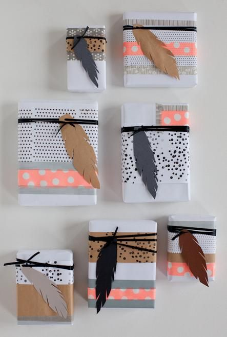 feathered and patterned gift wrap (used here a dotted pattern) *my tip is to use mix&match colors/patterns of your choice similar to how you would actually decorate your home or an outfit, I suggest colors that pop like jewel tones with neons