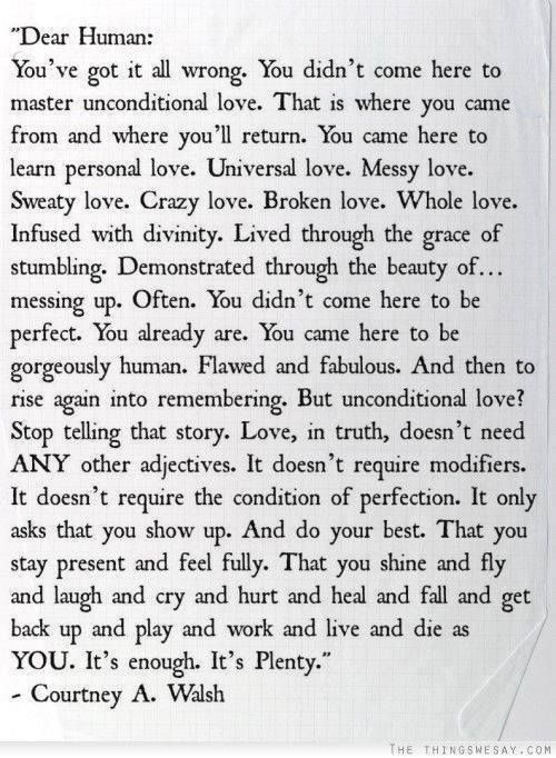 Dear Human... you've got it all wrong... you didn't come here to master unconditional love...  (Be sure to read the entire post.)
