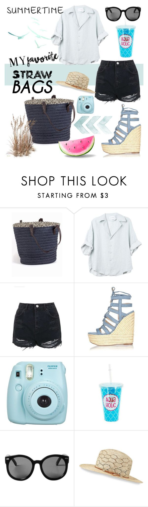 """""""Summer"""" by ceridwen86 ❤ liked on Polyvore featuring Topshop, River Island, Monki, rag & bone and strawbags"""
