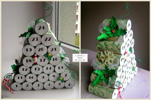 ADVENT calendar made with toilet paper rolls to look like small logs