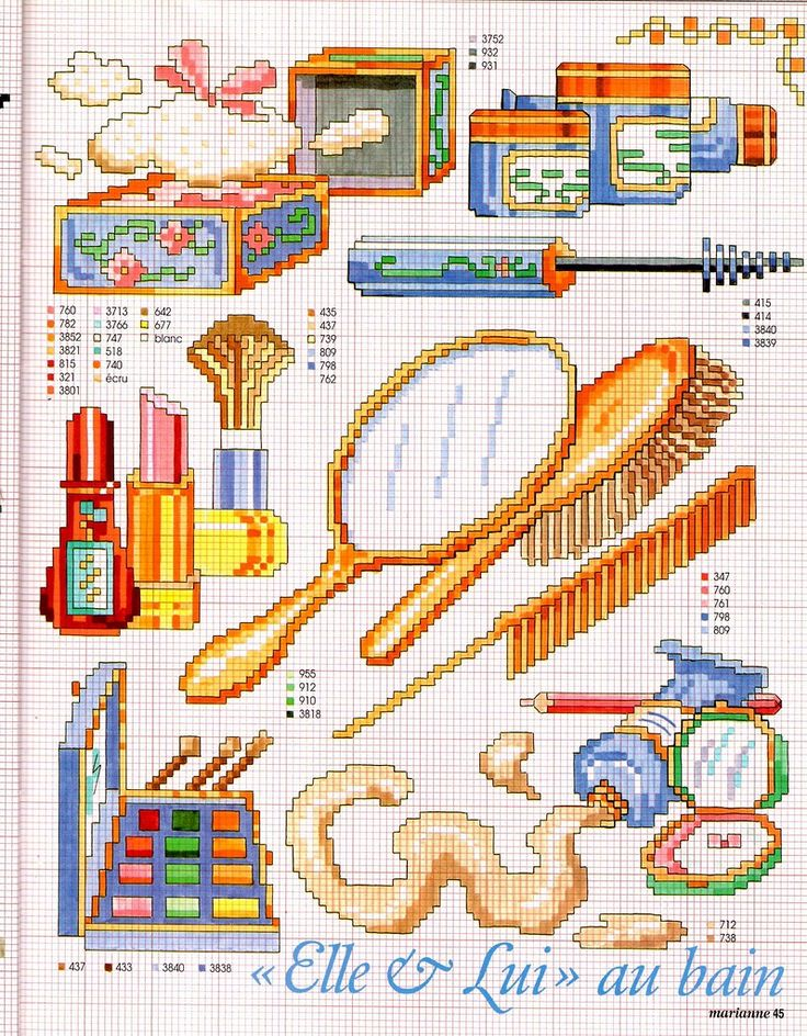 0 point de croix brosse à cheveux et maquillage - cross stitch hair brushes and make-up