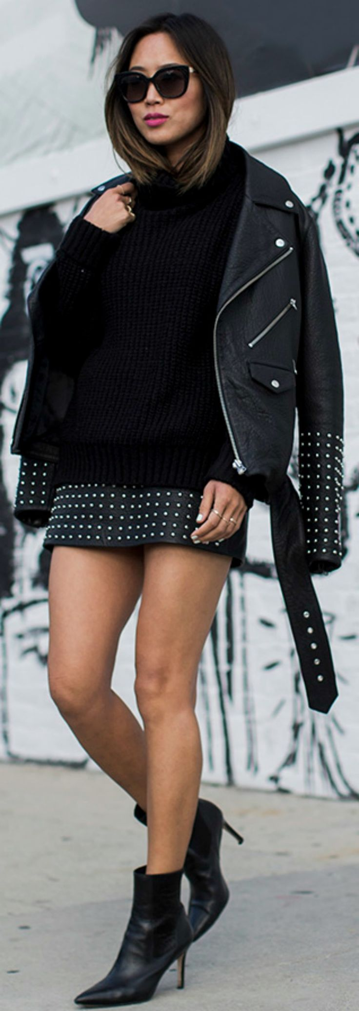Studded leather is a definite yes! Wear the style like Aimee Song by pairing it with knitwear and a pair of chic leather ankle boots for a winning rocker girl look.   Jacket/Skirt: McQ. #Leather #Fashion