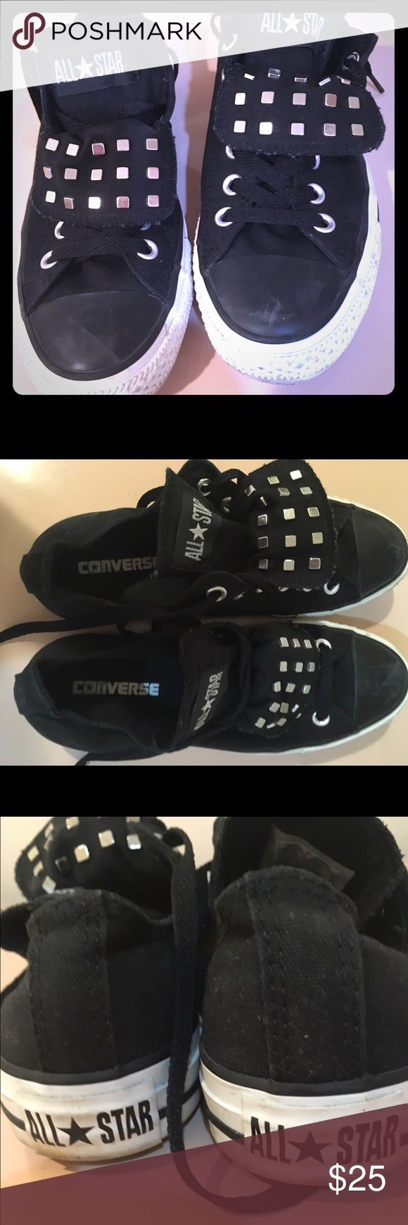 Converse All Star sneakers with silver studs Converse All Star black sneakers with silver square studs Converse Shoes Sneakers