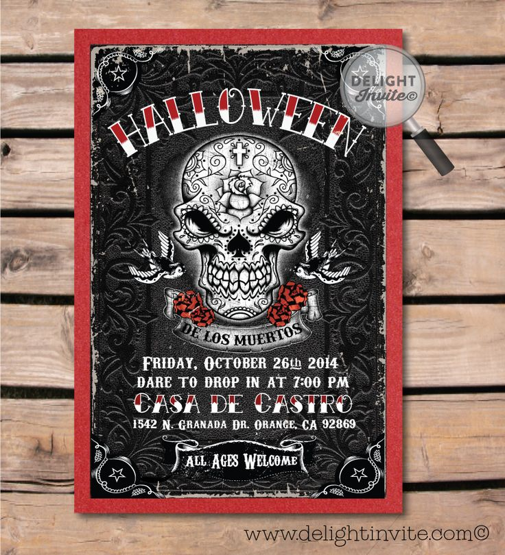 Best Day Of The Dead Dia De Los Muertos Halloween Invitations - Day of the dead party invitation template