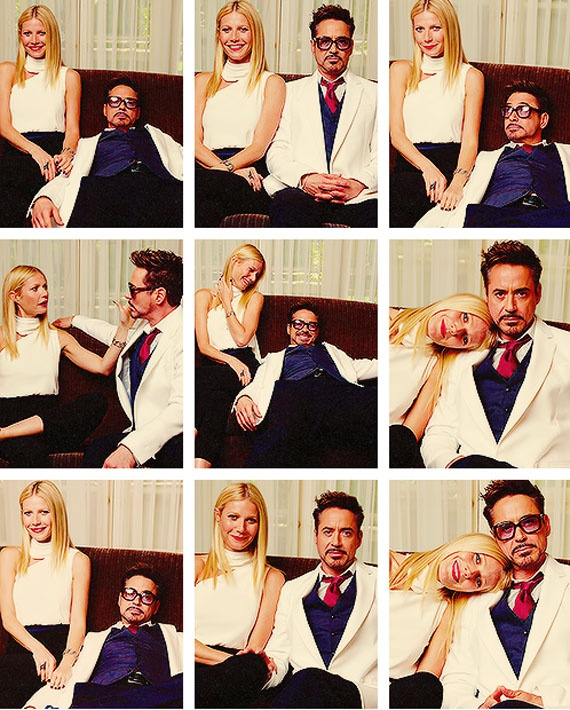 "Gwyneth Paltrow and Robert Downey Jr. (""Iron Man 3"" press interviews, Four Seasons Los Angeles, April 22, 2013)."