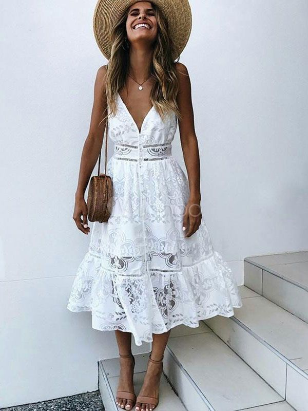 e3a7691cfb99 White Summer Dress Sexy Long Dress Lace V Neck Straps Slip Dress Jeans And  Sneakers,