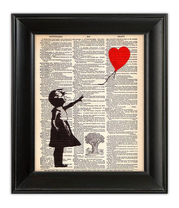 GIRL with Red BALLOON Heart Banksy Art Print Hand Painted Mixed Media Illustration Altered Antique 1930's English Dictionary Book Page 8x10. $9.00, via Etsy.