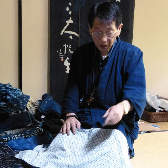 """""Kyotos brilliant indigo specialist Mr. Shozo Utsuki. He has a sublime range of shibori and ikat and very kindly shows you his old textiles and indigo vats. A must visit for all indigo fanatics."