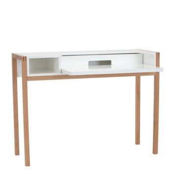 Farringdon Laptop Desk (1290 030) Painted White With Oak Legs 112cm X 43cm Amazing Ideas