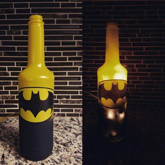 Batman plug in lighted wine bottle. Batman by WineCraftCreations